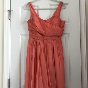 J Crew Coral Sleeveless Dress in Silk Chiffon